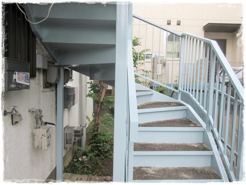 鉄階段 塗装 工事完了