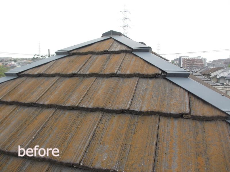 川崎市麻生区住宅外壁塗装工事のセメント瓦の塗装前
