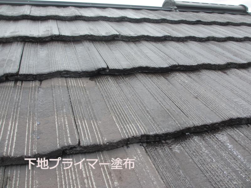 川崎市麻生区住宅外壁塗装工事のセメント瓦塗装下塗り