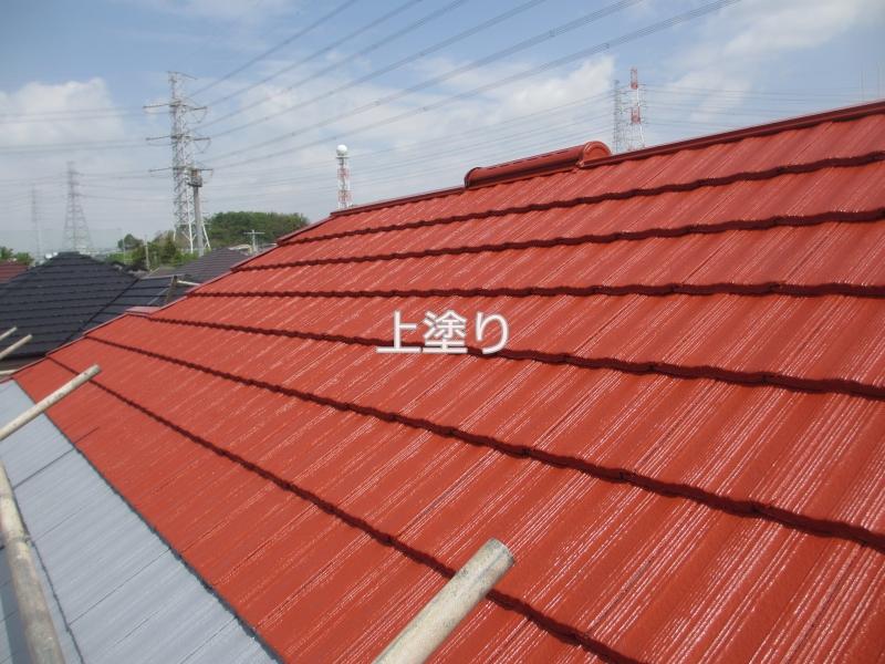 川崎市麻生区住宅外壁塗装工事のセメント瓦塗装上塗り