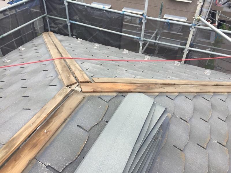 外壁の塗装 川崎市高津区住宅塗りかえ工事 屋根リフォーム 棟撤去