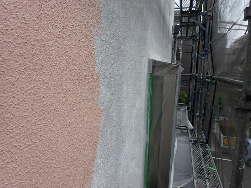 外壁の塗装 川崎市高津区住宅塗りかえ工事 リシン外壁塗装 微弾性フィラー塗布