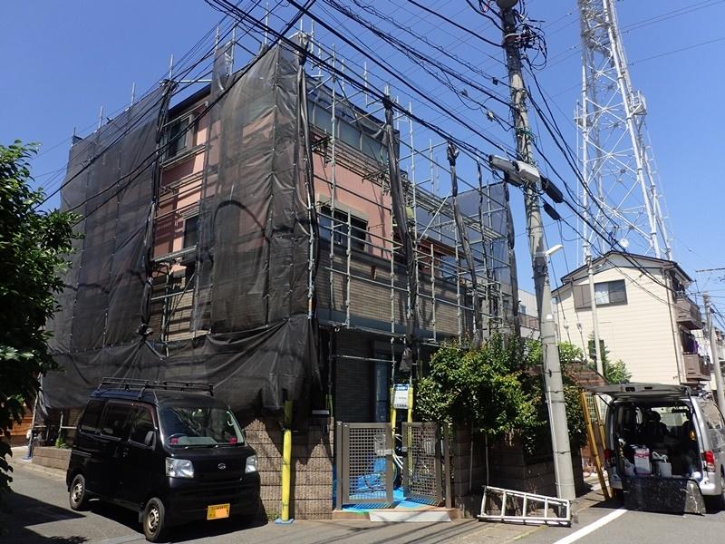 外壁の塗装 川崎市高津区住宅塗りかえ工事 リシン外壁塗装 工事中
