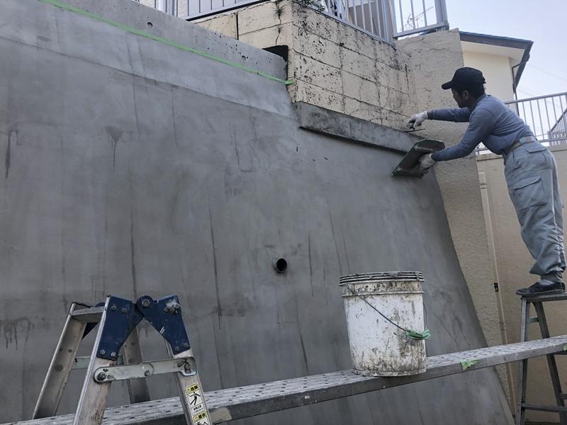 川崎市横浜市の外壁塗装工事 大谷石改修工事 モルタル塗り