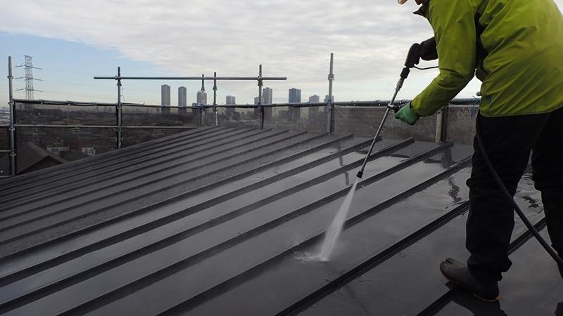 川崎市 中原区 ジョリパット 外壁塗装 屋根ガイナ塗装前洗浄