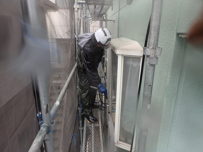 川崎市 高津区 マンション 塗装 ALC 外壁塗装 の施工 洗浄工事