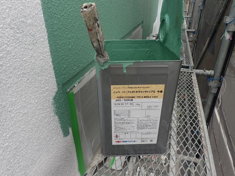 川崎市 高津区 マンション 塗装 ALC 外壁塗装 の施工 中塗り