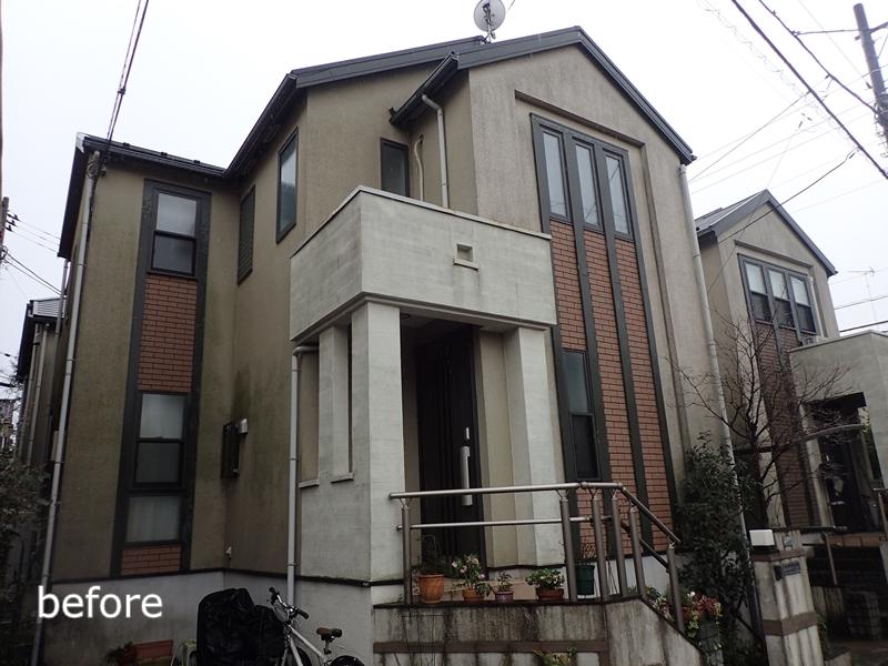 川崎市 、横浜市、 東京都 ジョリパット 塗り替え 外壁塗装  杉並区 住宅 完成の様子