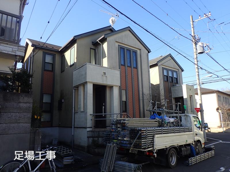 川崎市 、横浜市、 東京都 ジョリパット 塗り替え 外壁塗装  杉並区 住宅 足場工事