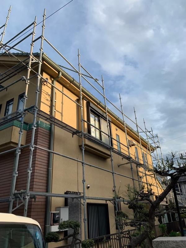 外壁塗り替え ジョリパット 外壁の 塗り替え ジョリパットフレッシュ 足場工事