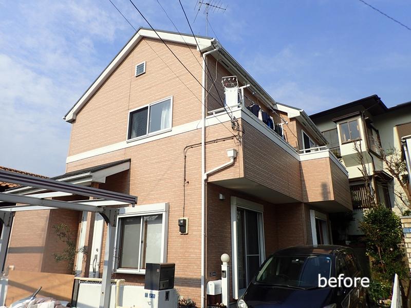 川崎市 麻生区 住宅の 外壁塗装 クリアー 塗装 工事前