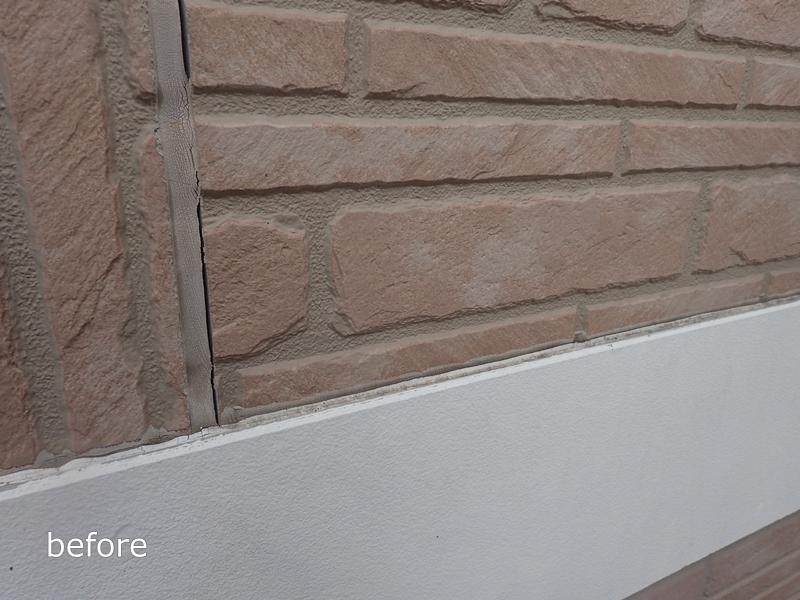 川崎市 麻生区 住宅の 外壁塗装 クリアー 塗装 工事前 コーキング劣化