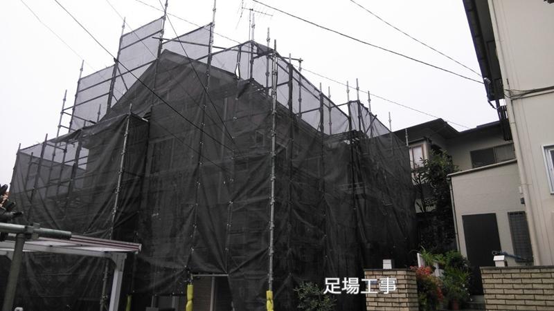 川崎市 麻生区 住宅の 外壁塗装 クリアー 塗装 工事前 足場工事