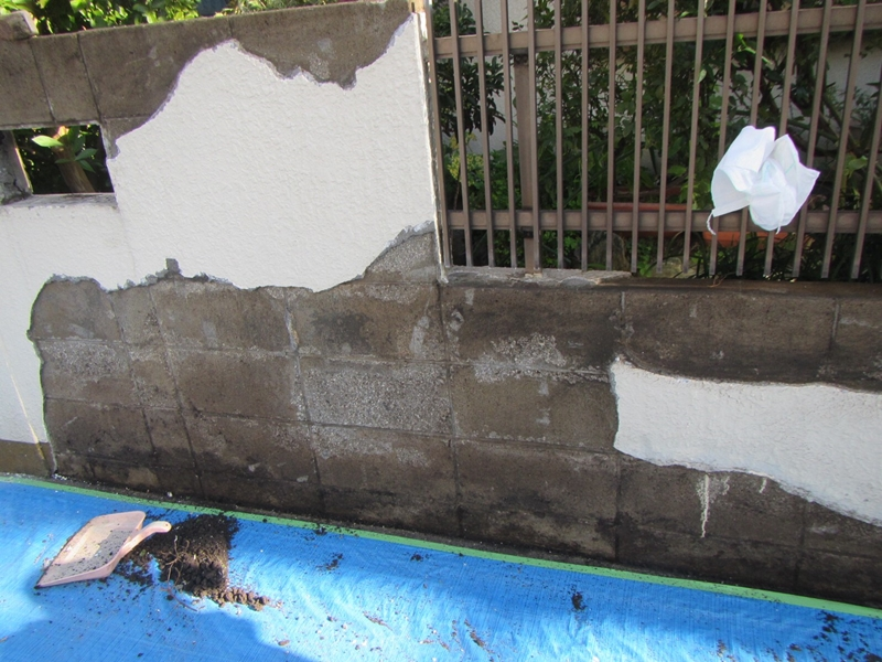 塀の塗り替え ジョリパットの塗り替え「エンシェントブリック」仕上げ