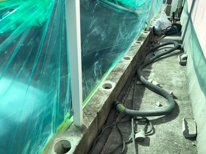 塀 フェンスのリフォーム工事 ジョリパット「レイヤーストーン」と三協アルミ「アリッサム」