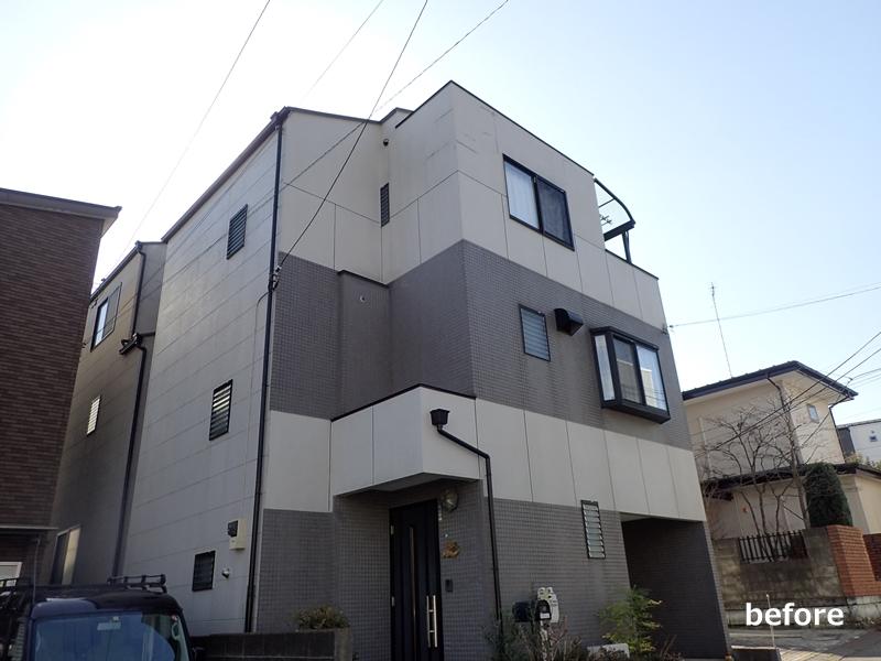 外壁塗装、金属サイディング工事前 川崎市多摩区住宅