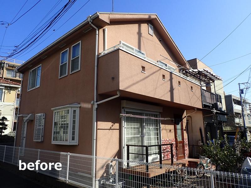 川崎市多摩区 外壁塗装 リシンの塗装 施工前