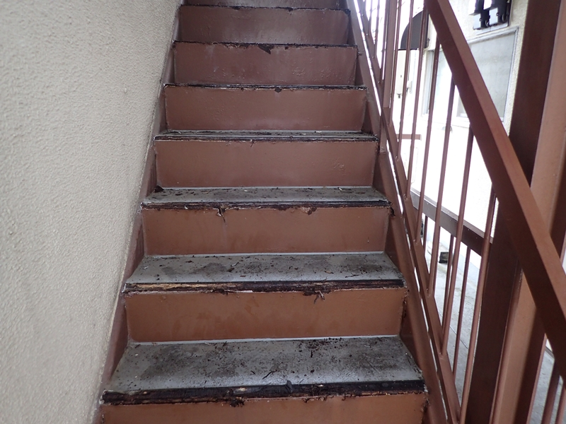 水たまりのできる階段廊下の改修工事 タキステップ6Wと長尺シート防水工事 ステップ撤去