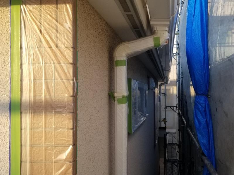 ダイナミックMUKIリシン外壁の塗り替え 神奈川県川崎市高津区住宅の外壁塗装 養生