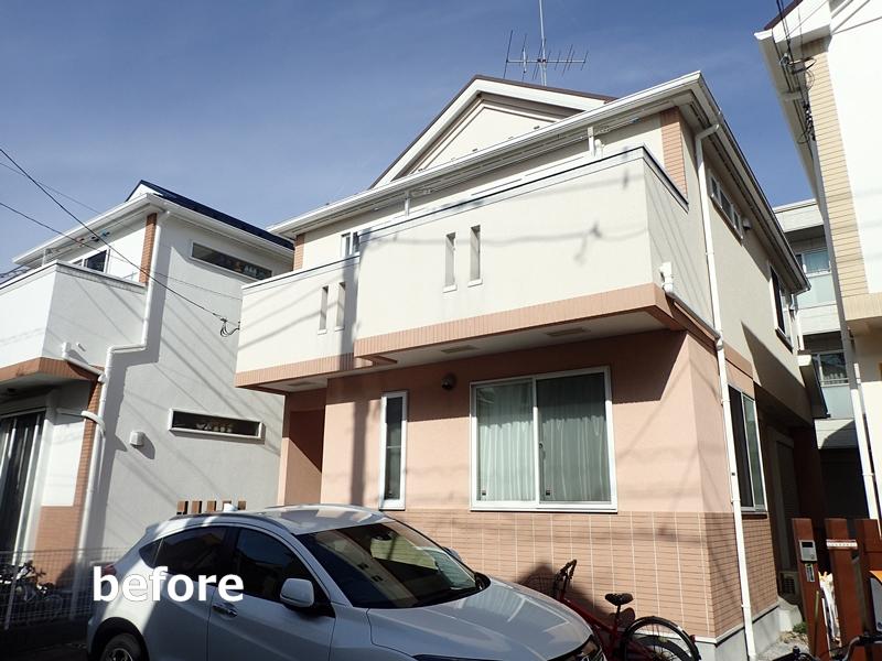 ダイナミックMUKIリシン外壁の塗り替え 神奈川県川崎市高津区住宅の外壁塗装 工事前