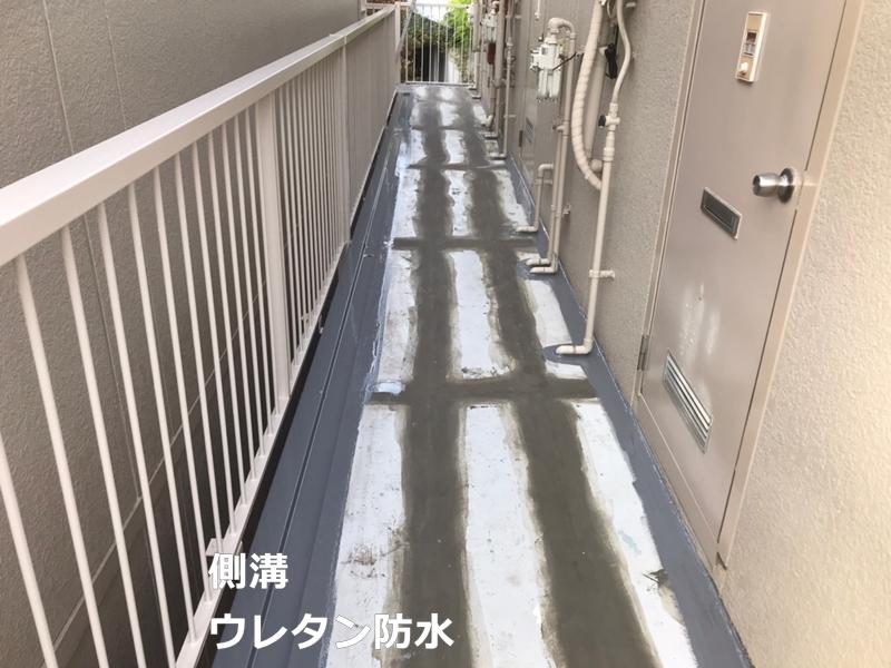 タキステップMWと廊下長尺シートの施工 ウレタン防水