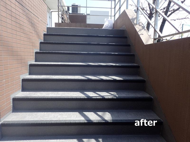タキステップ 長尺シートの階段廊下の施工